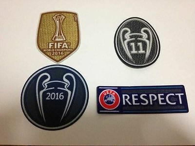 Real Madrid UEFA CHAMPIONS LEAGUE 2016 SET Soccer patch BADGE patch 11 TROPHY
