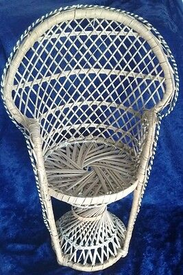 Rattan Wicker Round Back Chair for Dolls Teddy Bears Stuffed Toys