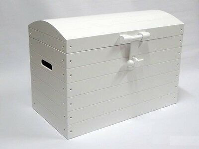 WHITE Wooden Trunk Chest Storage Toy Box Bed Furniture Wood Ottoman Basket LARGE