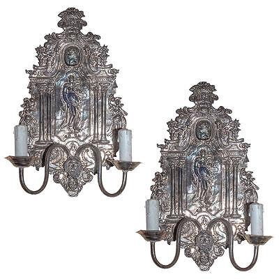 Pair Antique Silvered Metal Neoclassical Sconces