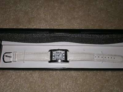 """""""gossip White Mother Of Pearl Face And Leather Band Watch"""""""