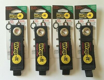 (4) (Medium) Wrap-It Heavy Duty Storage Straps to Hang Items on Hooks & Pegboard