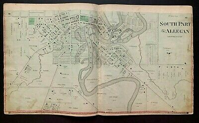 1873 original Plat Atlas page SOUTH PART OF ALLEGAN, MI, buildings marked