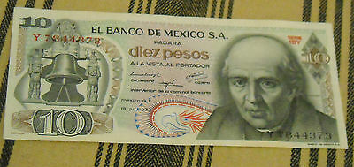Mexican Diez Pesos Paper Money Banknote Vintage Old