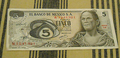 Mexican 5 Cinco  Paper Money Banknote Vintage Old
