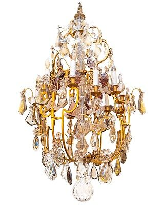 Monumental French Louis XVI Style Bronze and Crystal Chandelier