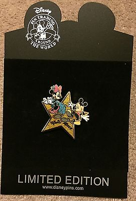 Disney Shopping Hollywood Gold Star Mickey and Minnie Mouse LE 1000 Pin NEW NOC