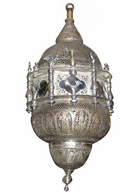 Antique Persian Middle Eastern Silverplated Lantern / Hanging Lamp