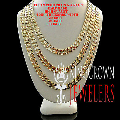 Mens Ladies 18K Solid Yellow Gold Overlay 4 Mm Cuban Curb Link Chain Necklace