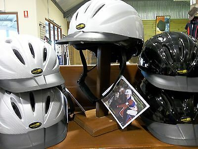 Aussie 21 Horse Riding Helmet AS 3838 - silver or black sml med or lge   *NEW*