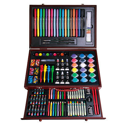 123 Pcs Deluxe Wooden Art Box Set Pencil Crayon Oil Pastel Complete Drawing Kit