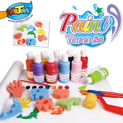 29pcs Tower of Paint Set 10 Bright Colors Washable Paint Great gift for Kids Art