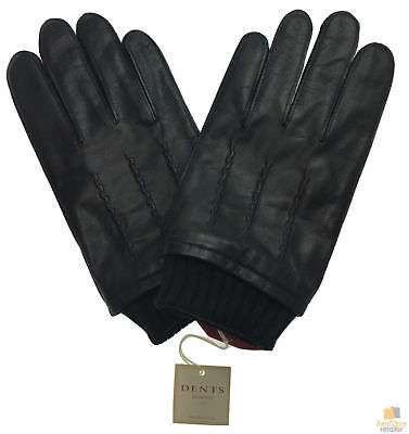 DENTS Sheepskin Leather Gloves with Detail Men's Warm Winter 75-0002 New