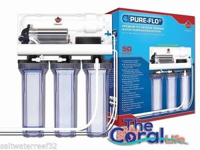 Coralife Pure-Flo II - 50 GPD 3 Canister RO System w/ Pump - FREE USA SHIPPING!!