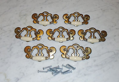 7 Vintage MCM Chippendale Style Brass Bail Knocker Keyhole Cabinet Drawer Pulls