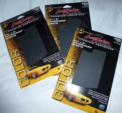 18 WATERPROOF SANDPAPER SHEETS 6 of 220 320 & 600 Grit BARRETT JACKSON Auto Rest