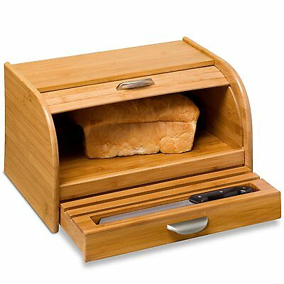 Roll Top Bread Box Wood Kitchen Countertops Bamboo Food Storage Bins Organizer