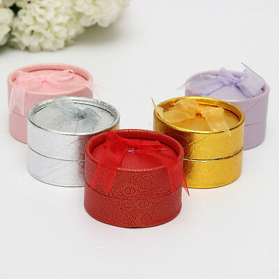 5Pcs Jewelry Gift Boxes Necklace Ring Earring Package Round Case Bowknot Display
