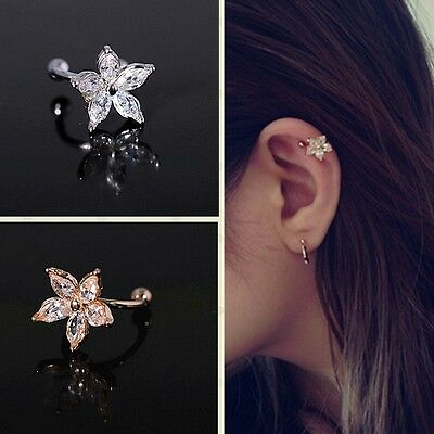 Non-Piercing Crystal Flower Clip On Fake Ear Hoop Ring U-shaped Body Jewelry AU