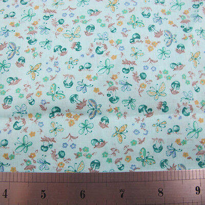 1960s Novelty of Mushrooms and Butterflies Cotton Fabric