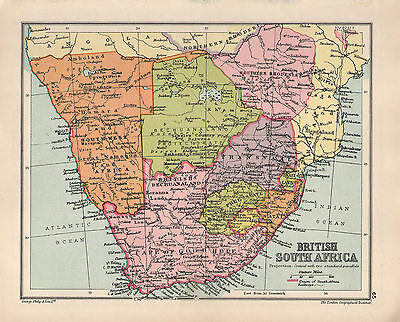 1934 MAP ~ BRITISH SOUTH AFRICA ~ CAPE OF GOOD HOPE TRANSVAAL RHODESIA NATAL etc