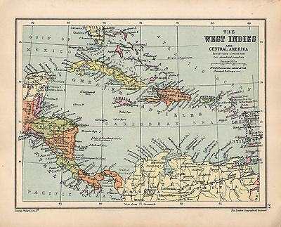 1934 Map ~ West Indies & Central America Cuba Jamaica Haiti Panama Honduras