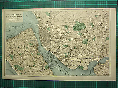 1883 Large Victorian Map ~ The Environs Of Liverpool ~ Hand Coloured