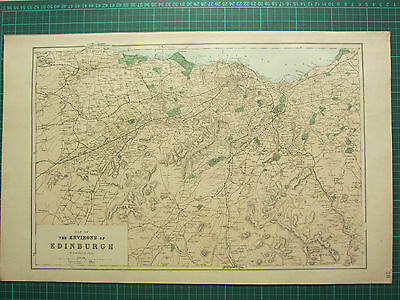1883 Large Victorian Map ~ The Environs Of Edinburgh ~ Hand Coloured