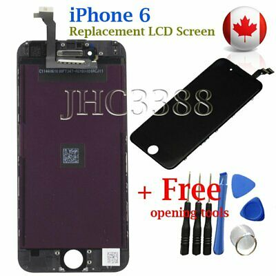 "Black LCD Screen + Touch Digitizer + Bezel Frame For Apple iPhone 6 4.7"" Canada"