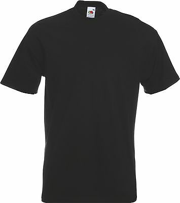 Black Fruit of The Loom 100% Cotton Mens Unisex Blank Plain Tee T-Shirt