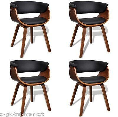 4 Leather Dining Chair Backrest Kitchen Home Office Restaurant Seat Black Brown