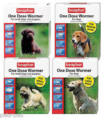 Beaphar One Dose Dog Wormer, Roundworm,Tapeworm, Vet Strength.