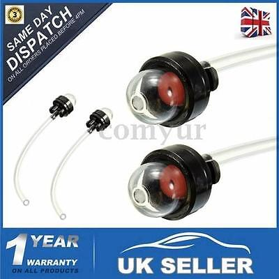 2x Petrol Snap In Primer Bulb & Fuel Line For Craftsman Ryobi Poulan Strimmers