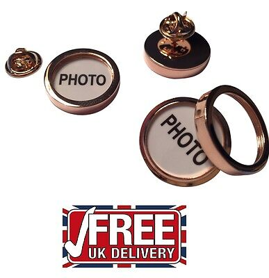 LAPEL PIN BADGE Your PICTURE Photo-Frame Dads Mums Kids  Pets Rose Gold   PB026