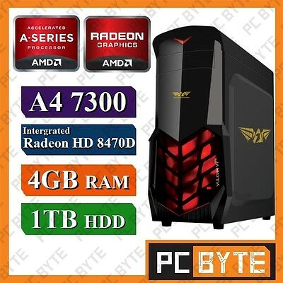 AMD 2 Core A4 7300 4.0GHz 1TB 4GB RAM Radeon HD8470D Gaming Computer Desktop PC