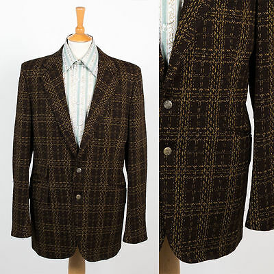 70's Vintage Usa Mens Brown Polyester Blazer Suit Jacket Check Pattern 42 L