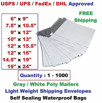 Poly Mailers Shipping Envelopes Self Sealing Plastic Mailing Bags All Size  1000