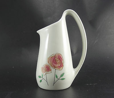 """Vintage Creamer Informal Iroquois by Ben Seibal White with pink Roses 6"""" tall"""