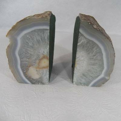 Brazilian Agate Stone Polished Natural Raw Bookends Green Felt