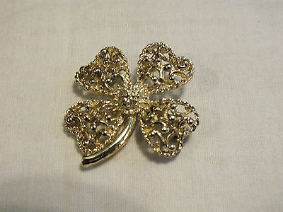 Beautiful Brooch Pin Gold Tone Textured Matte Shiny Filigree 4-Leaf Clover CUTE