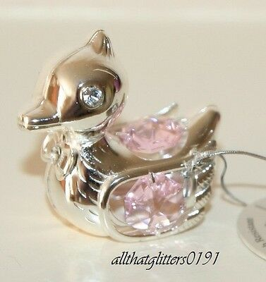 Crystal Temptations Silver Plated Pink Duck Christening/Newborn Gift