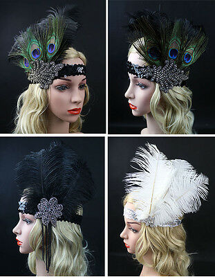 Feather Flapper Sequin Headband 1920s Headpiece Headdress Fascinators Hen Party