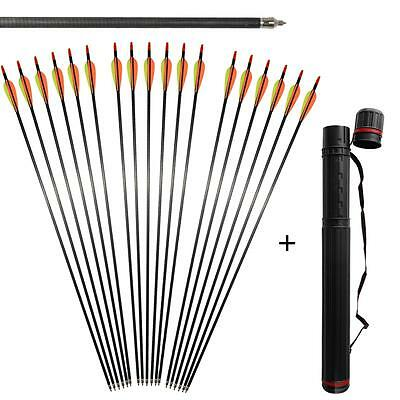 "6x 31"" Spine 400 Archery Carbon Fiber Arrows For Compound Bow & Back Quiver Tube"