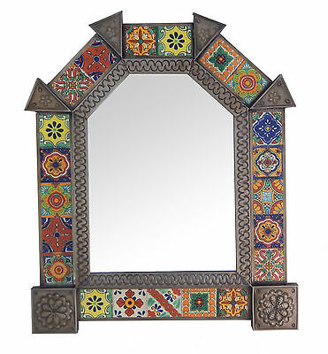 Mexican Punched Arch Tin MIRROR Mixed Talavera Tile Mexican #229 Nikel