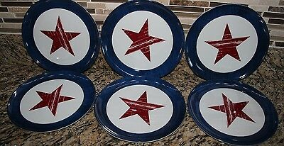 Salad Plates- Lot of 6 Red White Blue Star Melamine 4th of July Summer Party