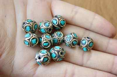10 PCS Nepal Handmade Brass Vintage Full Turquoise Loose Spacers Beads (18000088