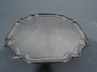George V Salver - Classic Cartouche Tray - English Sterling Silver - 1928