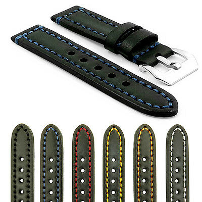 StrapsCo Black Thick Vintage Watch Band Strap w/ Heavy Duty Contrast Stitching