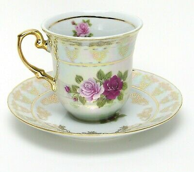 Euro Porcelain 12-pc Coffee Tea Cup Set for 6 - Luxury 24K Gold Red & Pink Roses