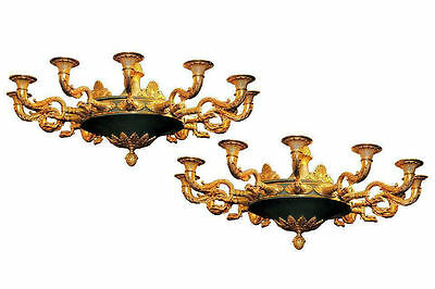 Pair Antique French Empire Style Bronze Chandeliers